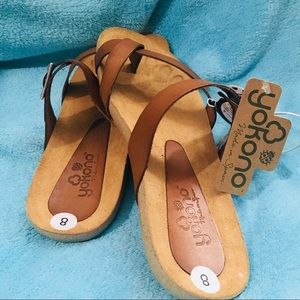 YOKONO Genuine Leather Toe Loop Flip Flops Sandals